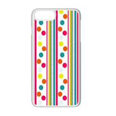 Stripes And Polka Dots Colorful Pattern Wallpaper Background Apple Iphone 7 Plus White Seamless Case by Nexatart