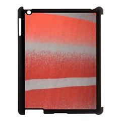 Orange Stripes Colorful Background Textile Cotton Cloth Pattern Stripes Colorful Orange Neo Apple Ipad 3/4 Case (black) by Nexatart