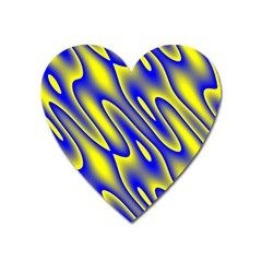 Blue Yellow Wave Abstract Background Heart Magnet by Nexatart