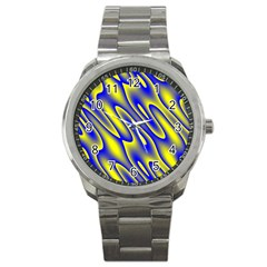 Blue Yellow Wave Abstract Background Sport Metal Watch by Nexatart
