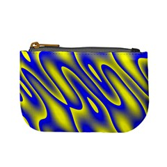 Blue Yellow Wave Abstract Background Mini Coin Purses