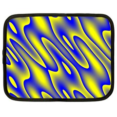 Blue Yellow Wave Abstract Background Netbook Case (xxl)  by Nexatart