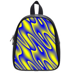 Blue Yellow Wave Abstract Background School Bags (small)  by Nexatart