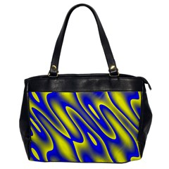 Blue Yellow Wave Abstract Background Office Handbags by Nexatart