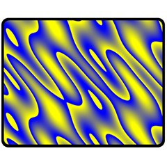 Blue Yellow Wave Abstract Background Fleece Blanket (medium)  by Nexatart