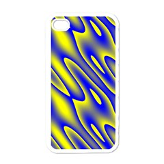 Blue Yellow Wave Abstract Background Apple Iphone 4 Case (white) by Nexatart