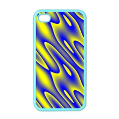Blue Yellow Wave Abstract Background Apple Iphone 4 Case (color) by Nexatart