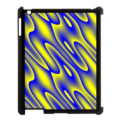 Blue Yellow Wave Abstract Background Apple Ipad 3/4 Case (black) by Nexatart