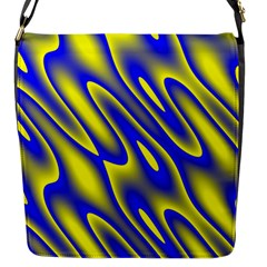 Blue Yellow Wave Abstract Background Flap Messenger Bag (s) by Nexatart