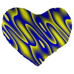 Blue Yellow Wave Abstract Background Large 19  Premium Flano Heart Shape Cushions by Nexatart