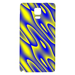 Blue Yellow Wave Abstract Background Galaxy Note 4 Back Case by Nexatart