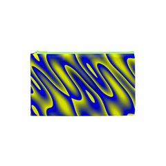 Blue Yellow Wave Abstract Background Cosmetic Bag (xs) by Nexatart