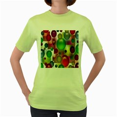 Colored Bubbles Squares Background Women s Green T Shirt by Nexatart