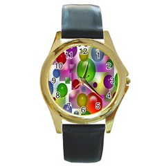 Colored Bubbles Squares Background Round Gold Metal Watch by Nexatart