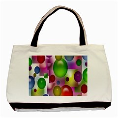 Colored Bubbles Squares Background Basic Tote Bag by Nexatart