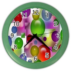 Colored Bubbles Squares Background Color Wall Clocks by Nexatart