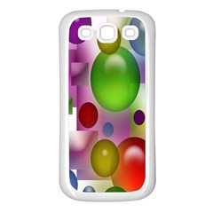 Colored Bubbles Squares Background Samsung Galaxy S3 Back Case (white)