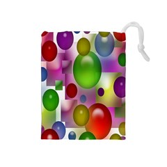 Colored Bubbles Squares Background Drawstring Pouches (medium)  by Nexatart