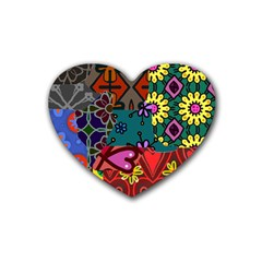 Digitally Created Abstract Patchwork Collage Pattern Rubber Coaster (heart)  by Nexatart