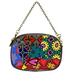 Digitally Created Abstract Patchwork Collage Pattern Chain Purses (one Side)  by Nexatart