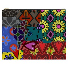 Digitally Created Abstract Patchwork Collage Pattern Cosmetic Bag (xxxl)  by Nexatart