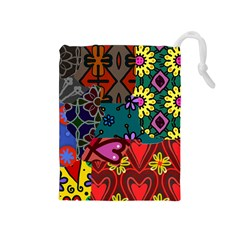 Digitally Created Abstract Patchwork Collage Pattern Drawstring Pouches (medium)  by Nexatart