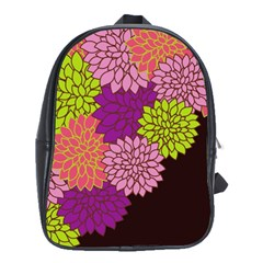 Floral Card Template Bright Colorful Dahlia Flowers Pattern Background School Bags(large)  by Nexatart