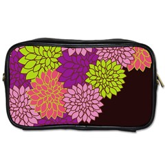 Floral Card Template Bright Colorful Dahlia Flowers Pattern Background Toiletries Bags 2 Side by Nexatart