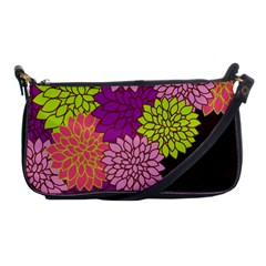 Floral Card Template Bright Colorful Dahlia Flowers Pattern Background Shoulder Clutch Bags by Nexatart