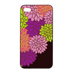 Floral Card Template Bright Colorful Dahlia Flowers Pattern Background Apple Iphone 4/4s Seamless Case (black) by Nexatart
