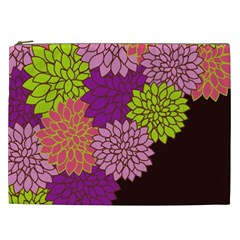 Floral Card Template Bright Colorful Dahlia Flowers Pattern Background Cosmetic Bag (xxl)  by Nexatart