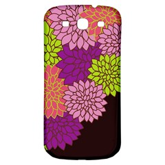 Floral Card Template Bright Colorful Dahlia Flowers Pattern Background Samsung Galaxy S3 S Iii Classic Hardshell Back Case by Nexatart