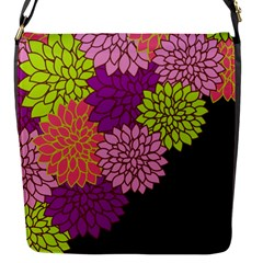 Floral Card Template Bright Colorful Dahlia Flowers Pattern Background Flap Messenger Bag (s) by Nexatart