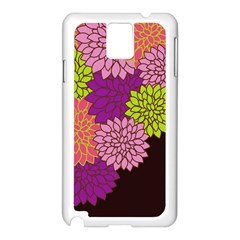 Floral Card Template Bright Colorful Dahlia Flowers Pattern Background Samsung Galaxy Note 3 N9005 Case (white) by Nexatart