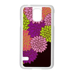 Floral Card Template Bright Colorful Dahlia Flowers Pattern Background Samsung Galaxy S5 Case (white) by Nexatart