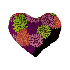 Floral Card Template Bright Colorful Dahlia Flowers Pattern Background Standard 16  Premium Flano Heart Shape Cushions by Nexatart