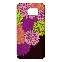 Floral Card Template Bright Colorful Dahlia Flowers Pattern Background Galaxy S6 by Nexatart