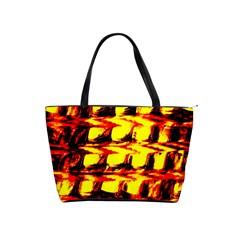Yellow Seamless Abstract Brick Background Shoulder Handbags by Nexatart