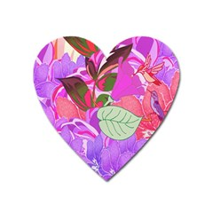 Abstract Design With Hummingbirds Heart Magnet by Nexatart