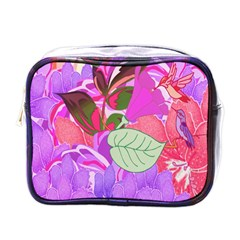 Abstract Design With Hummingbirds Mini Toiletries Bags by Nexatart