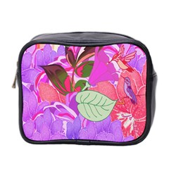 Abstract Design With Hummingbirds Mini Toiletries Bag 2 Side by Nexatart