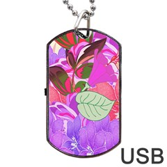 Abstract Design With Hummingbirds Dog Tag Usb Flash (two Sides) by Nexatart