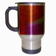 Metallic Brush Strokes Paint Abstract Texture Travel Mug (silver Gray) by Nexatart