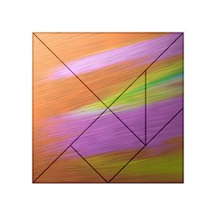 Metallic Brush Strokes Paint Abstract Texture Acrylic Tangram Puzzle (4  X 4 ) by Nexatart
