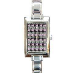 Colorful Pixelation Repeat Pattern Rectangle Italian Charm Watch by Nexatart