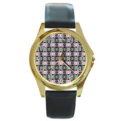 Colorful Pixelation Repeat Pattern Round Gold Metal Watch by Nexatart