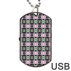 Colorful Pixelation Repeat Pattern Dog Tag Usb Flash (two Sides) by Nexatart
