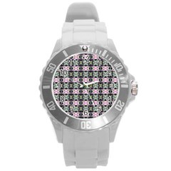Colorful Pixelation Repeat Pattern Round Plastic Sport Watch (L)