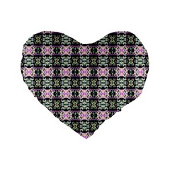 Colorful Pixelation Repeat Pattern Standard 16  Premium Flano Heart Shape Cushions by Nexatart