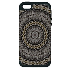 Celestial Pinwheel Of Pattern Texture And Abstract Shapes N Brown Apple Iphone 5 Hardshell Case (pc+silicone) by Nexatart
